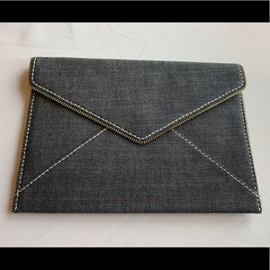New Rebecca Minkoff Leo Blue Denim Envelope Clutch